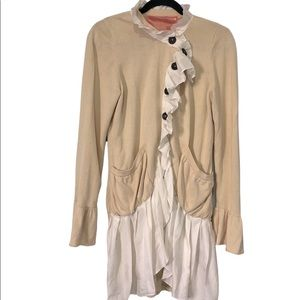 Knitted Dove Lagenlook Frill Asymmetrical Cardigan